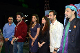Emraan Hashmi Esha Gupta Kunal Deshmukh posing with Pakistani band Junoon singer Salman Ahmad at Junoon concert in Mumbai Photo