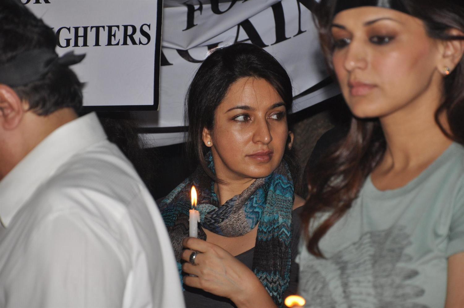 ... Bendre at the silent candle march for Delhi gang rape victim in Mumbai
