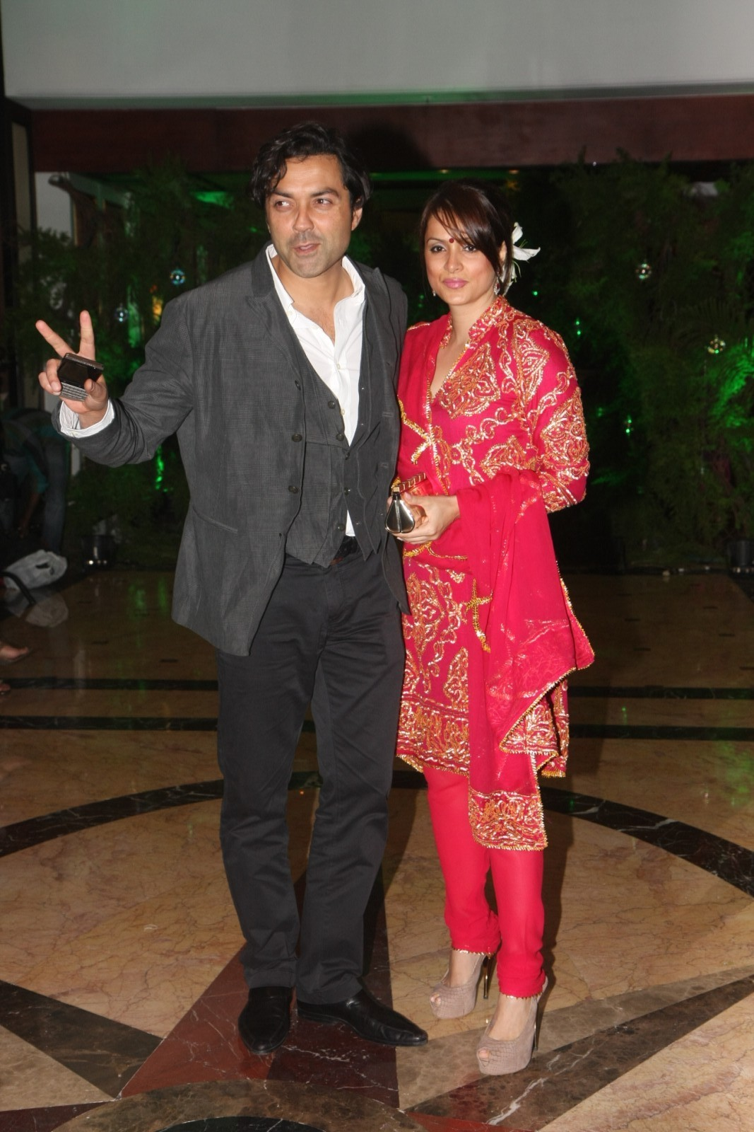 Bobby Deol With Wife Tanya Deol At Wedding Sangeet Ceremony Of Ritesh Deshmukh Genelia At Hotel