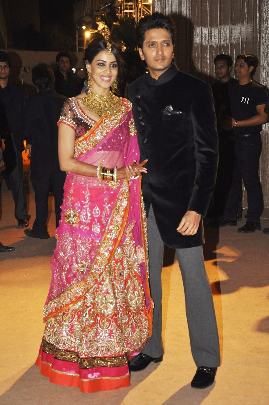 ritesh deshmukh with wife genelia at wedding reception of