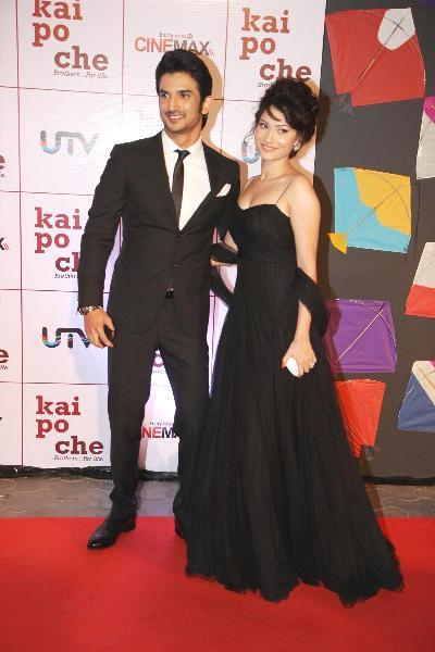 Actor Sushant Singh Rajput with girlfriend Ankita Lokhande at film KAI PO CHE premiere at Cinemax in Mumbai  2