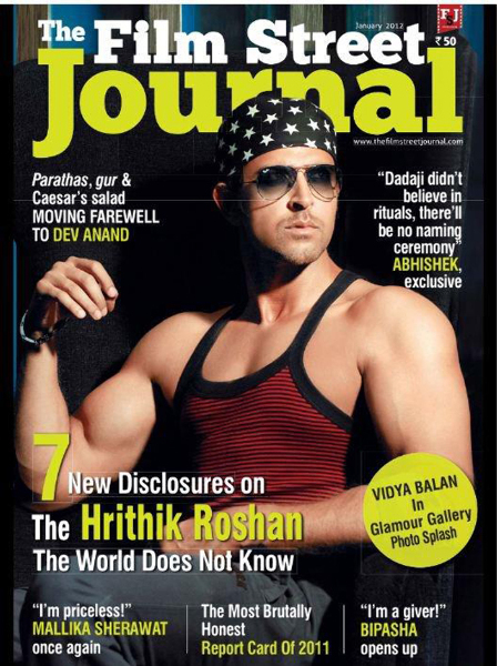 Hrithik Roshan on the cover of Film Street Journal Pic