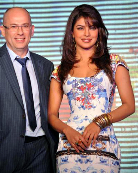 ST Micro Electronics Director Yannick Paillard with Priyanka Chopra at the launch of the Digital Direct Broadcast technology platform in Mumbai Photo