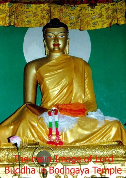 The main Image of Lord Buddha in Bodhgaya Temple