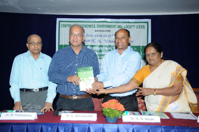 Release of Prof.K.N.Ninan s book by Dr Ulhas K.Karanth