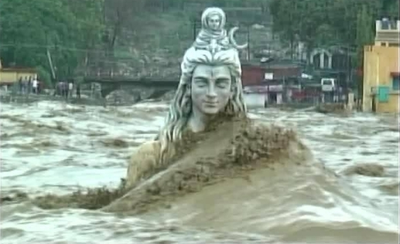 River Ganga Crash Over the Statue of Lord Shiva in Rishikesh