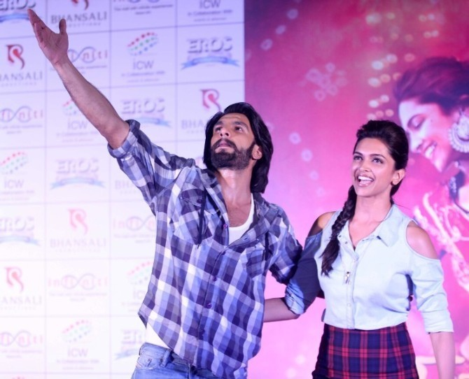 Deepika Padukone with Ranveer Singh at film RAM LEELA promotions Photo