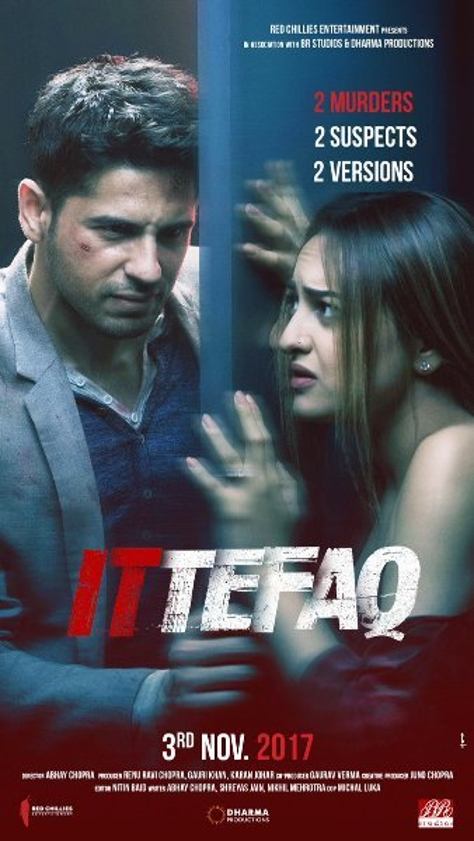 Sonakshi Sinha  Sidharth Malhotra Ittefaq Movie Poster